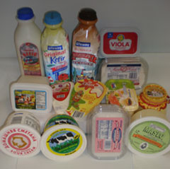 Large selection of dairy products