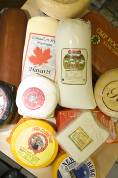 Large selection of cheeses